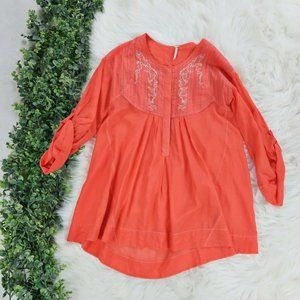 Free People Orange Tunic Embroidered Henley Top XS